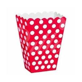 Bodkované krabičky na sladkosti / červené 8ks