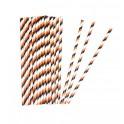 Papierové slamky / oranžovo-čierne 25ks