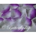 Textilné lupene ruží - fialovo-biele 200ks